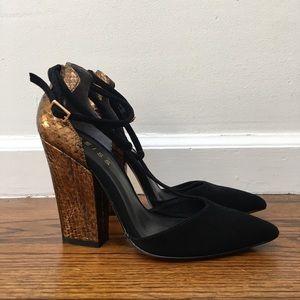 Reiss Metallic Noma T bar snake heels